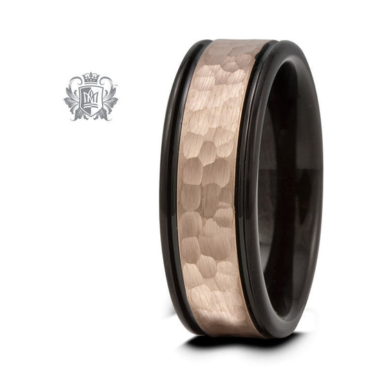 Black Tungsten Band with Rose Gold Coloured Hammered Inlay - Size 9 Tungsten Rings - 1
