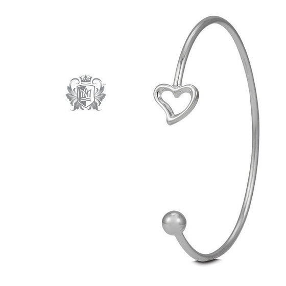 Bead and Heart Open Cuff Bangle -  Bracelets