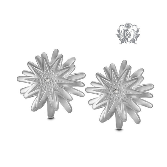 Flower Diamond Studs -  Gemstone Earrings