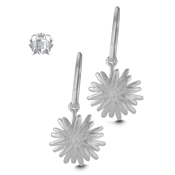 Flower Diamond Hangers -  Gemstone Earrings
