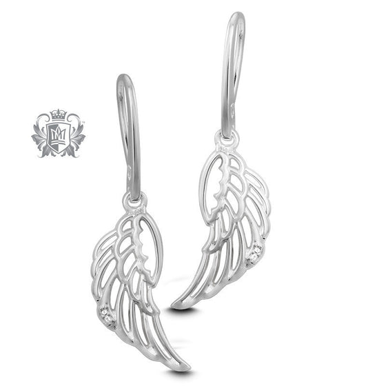 Angel Wing Diamond Hanger Earrings -  Gemstone Earrings