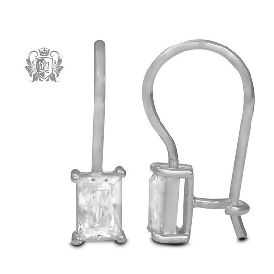 Rectangle Prong Set Cubic Hangers -  Gemstone Earrings