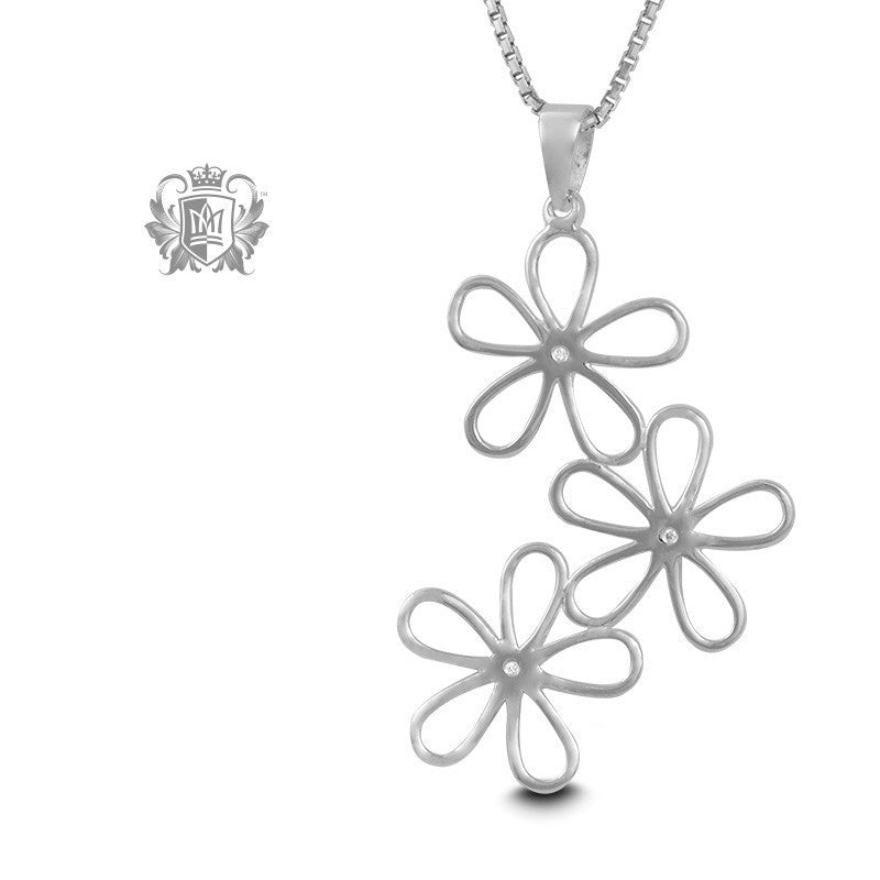 Triple Daisy Pendant - 18 inch chain Gemstone Pendants - 1