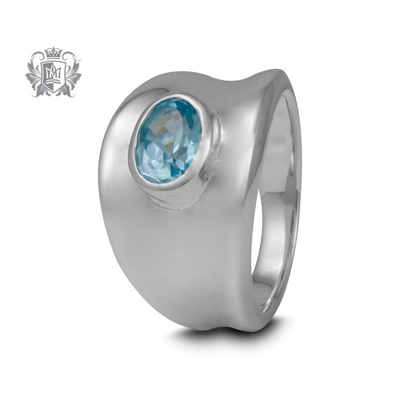Tapered Oval Gemstone Ring - Blue Topaz / Size 6 Gemstone RIngs - 2