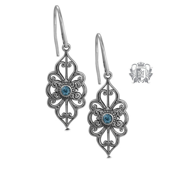 Panos Konidas Marquise Scroll Earrings - Amethyst, Blue Topaz - Blue Topaz Gemstone Earrings - 1