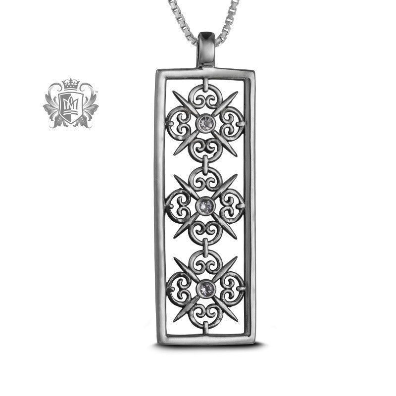 Panos Konidas Rectangular Scroll Pendant - Garnet, Cubic - Cubic / 18 inch chain Gemstone Pendants - 2