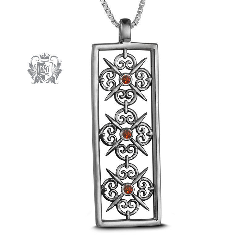 Panos Konidas Rectangular Scroll Pendant - Garnet, Cubic - Garnet / 18 inch chain Gemstone Pendants - 1