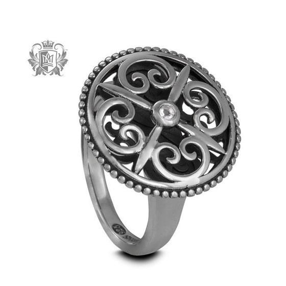 Panos Konidas Round Shield Ring - Cubic - Metalsmiths Sterling™ Canada