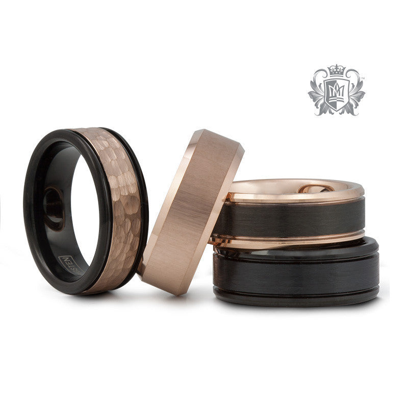 Rose Gold Coloured Tungsten Band with Black Brushed Inlay -  Tungsten Rings - 3