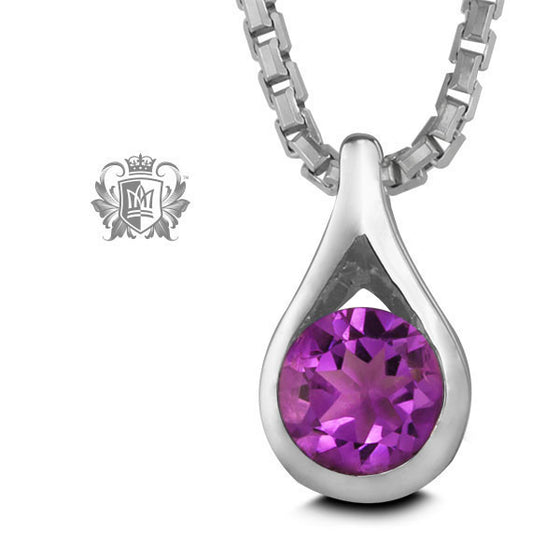 Gemstone Teardop Pendant - Amethyst / 18 inch chain Gemstone Pendants - 2