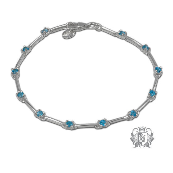 Prong Set Tennis Bracelet - Blue Topaz Gemstone Bracelets - 1