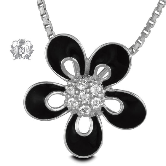 Black Enamel Daisy Pendant with Cubics - 18 inch chain Gemstone Pendants - 1