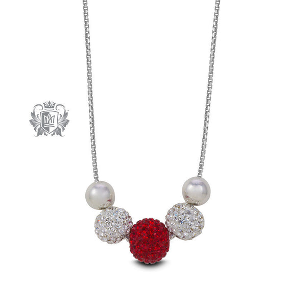 Red & White Shambhala Sparkling Necklace - Metalsmiths Sterling™ Canada
