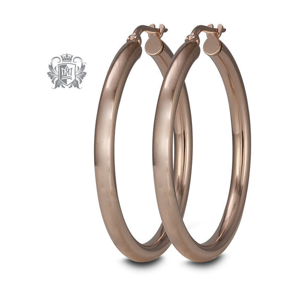 35mm Hoop Earrings - Rose Gold Dipped Sterling Silver Hoop Earrings - 1