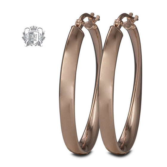 Flat Twist Hoops - Rose Gold Dipped Sterling Silver Hoop Earrings - 1