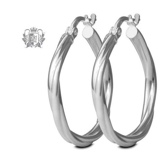 Multi-Tone Twist Hoops - Sterling Silver Hoop Earrings - 1