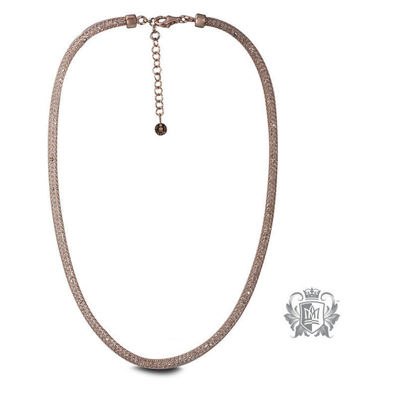 Cubic Filled Woven Chain Necklace - Rose gold dipped sterling silver Necklaces - 1