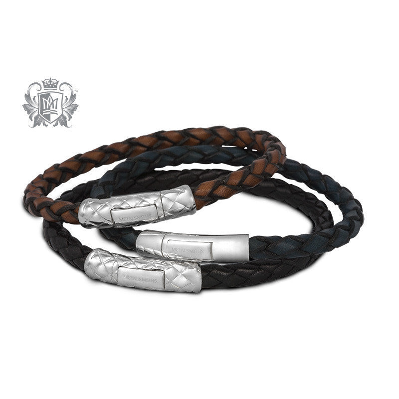 Braided Leather Bracelet with Sleek Sterling Silver Clasp for Him -  Bracelets - 3