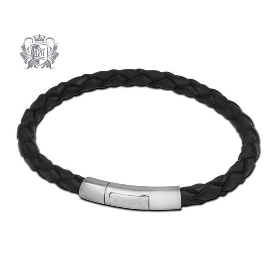 Braided Leather Bracelet with Sleek Sterling Silver Clasp for Him - Black Bracelets - 1