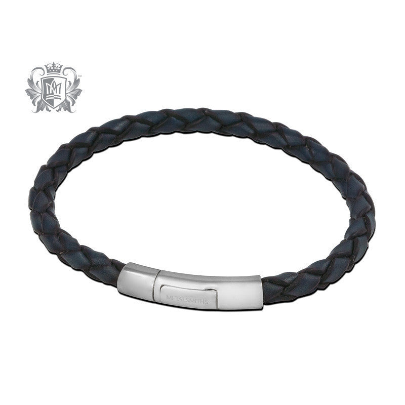Braided Leather Bracelet with Sleek Sterling Silver Clasp for Him - Blue Bracelets - 2