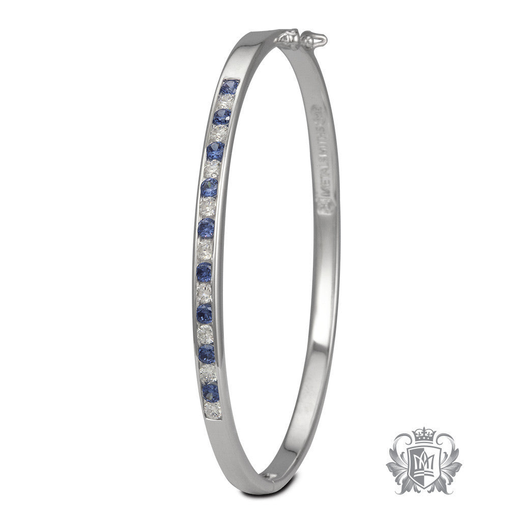 Eternity Bangle 4mm Wide - Alternating Dark Blue & Clear Cubic Bracelets - 1