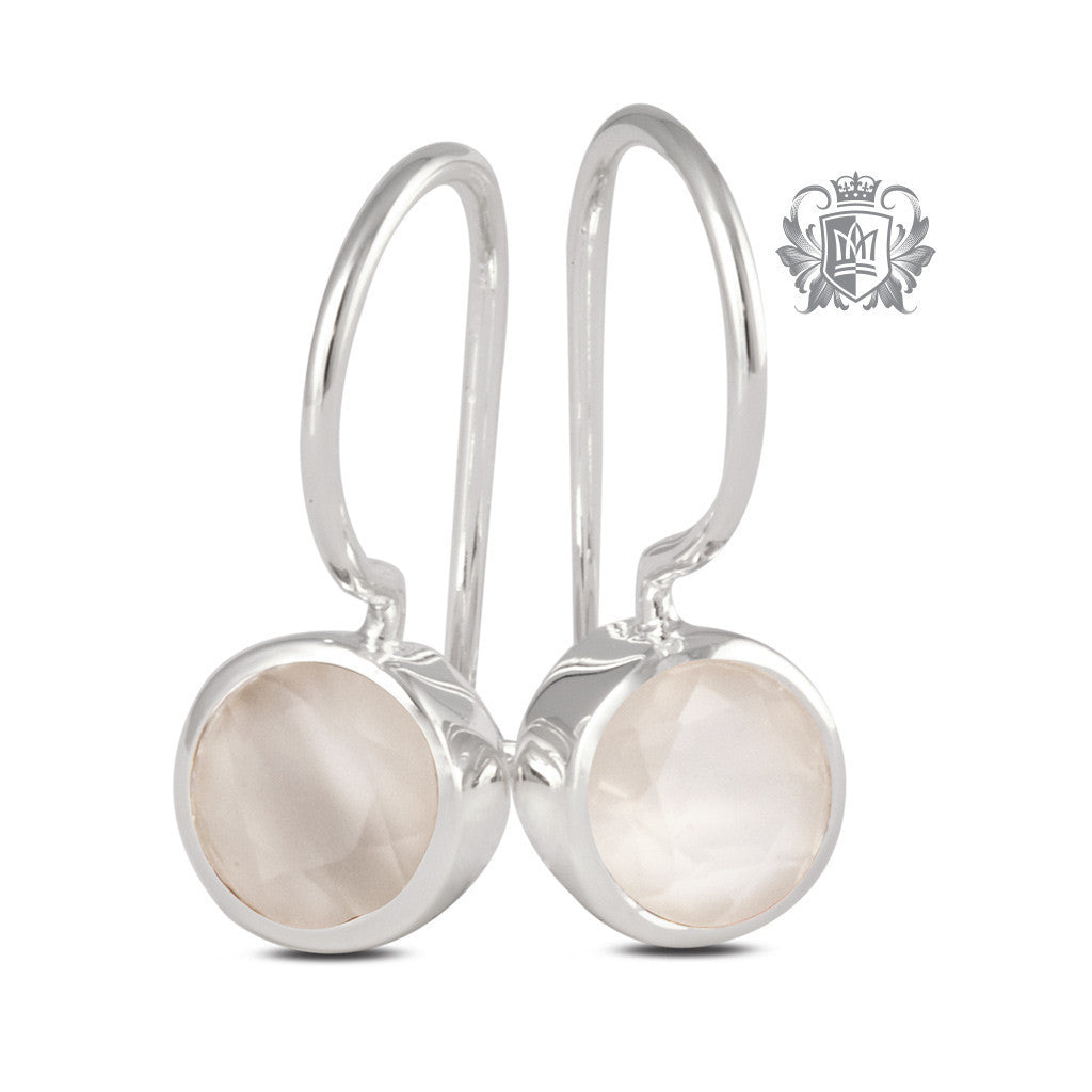 Moonstone Round Bezel Hangers Sterling Silver