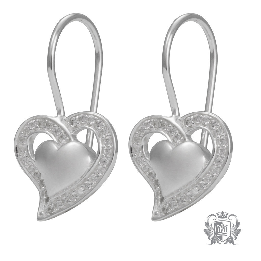Metalsmiths Sterling Silver Sparkling Romance Heart Earrings