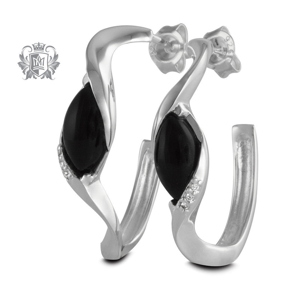 Twisted Marquise Hoop Earrings with Diamond Accents - Metalsmiths Sterling™ Canada
