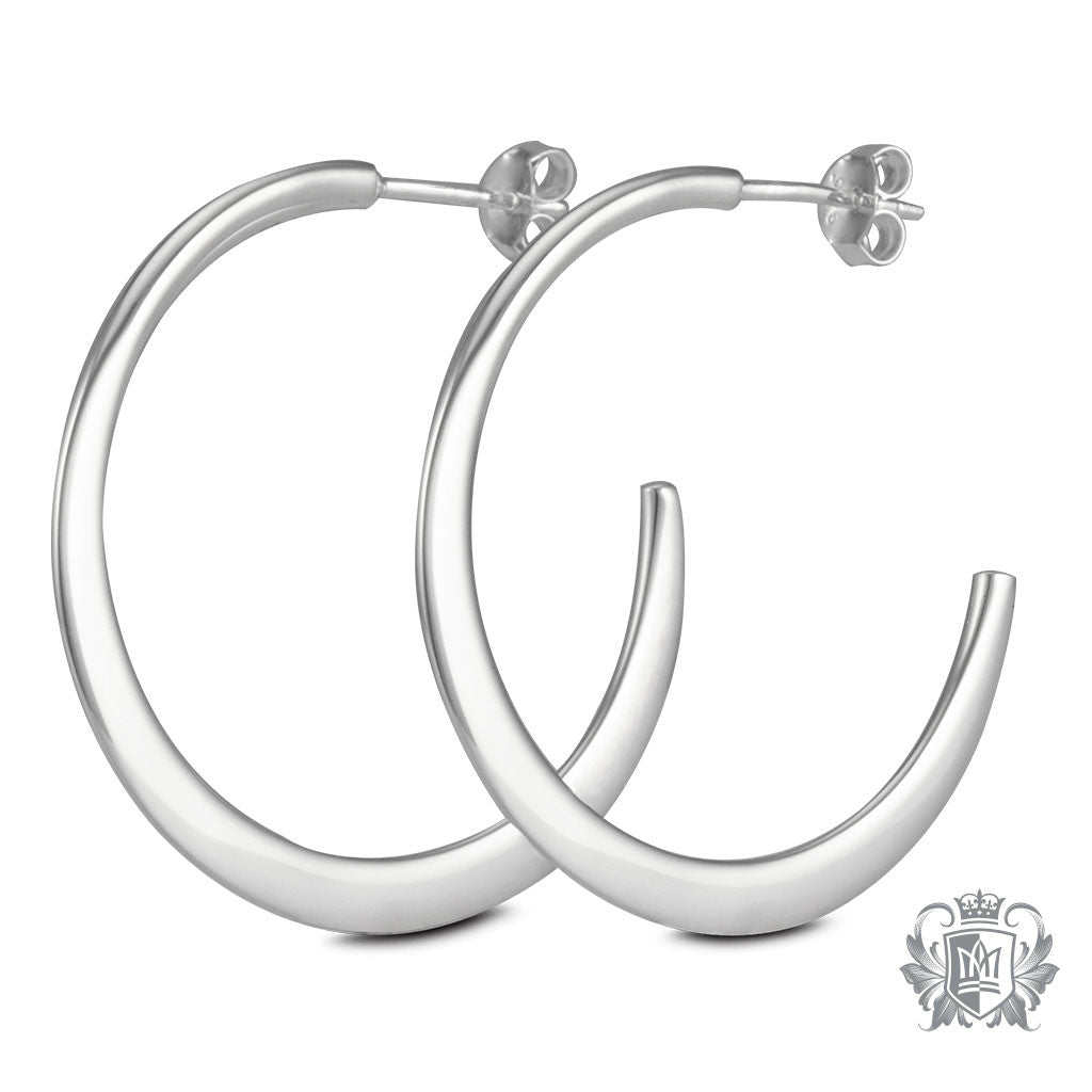 Metalsmiths Sterling Silver Hand Forged Round Hoop Earrings