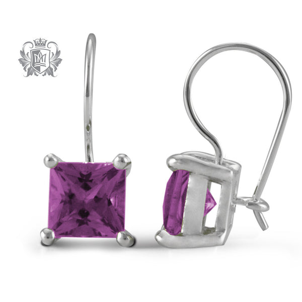 Prong Set Amethyst Hanger Earrings