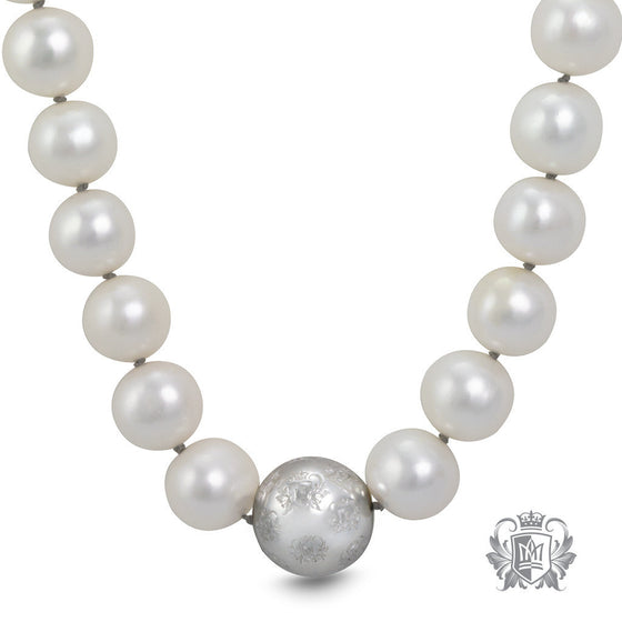 Fresh Water Pearl Necklace with Heritage Accent -  Necklaces - 1