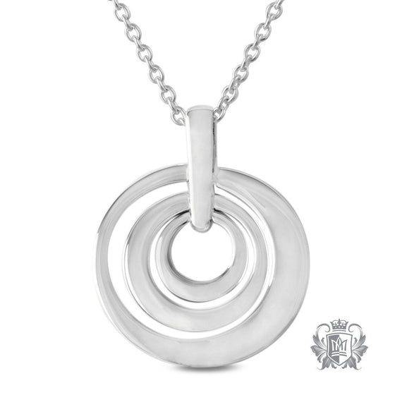 Triple Circle Drop Pendant Sterling Silver