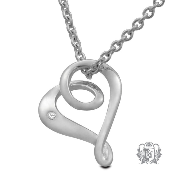 Metalsmiths Sterling Silver Looped Heart Diamond Pendant