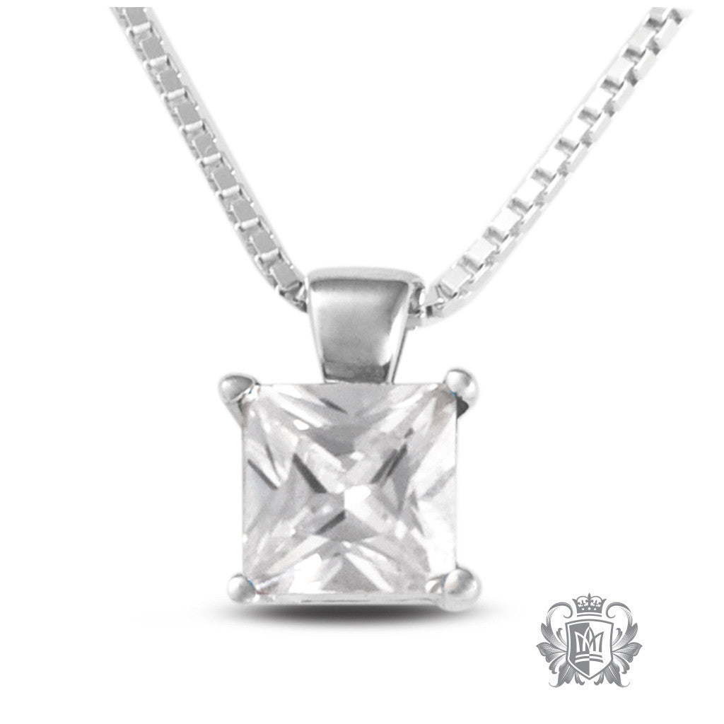 Cubic Square Prong Set Pendant Sterling Silver