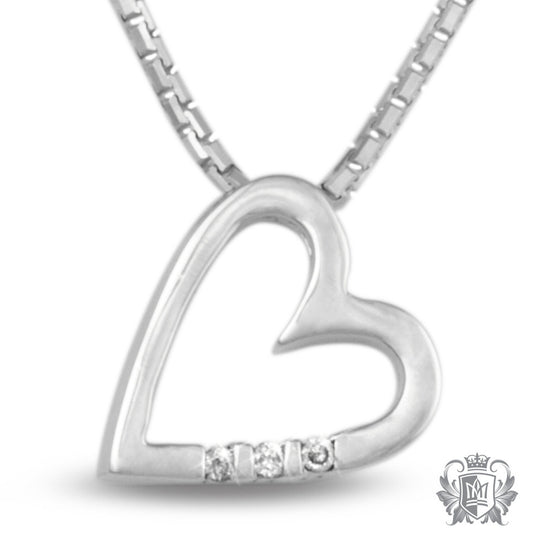 Metalsmiths Sterling Silver Three Diamond Heart Necklace