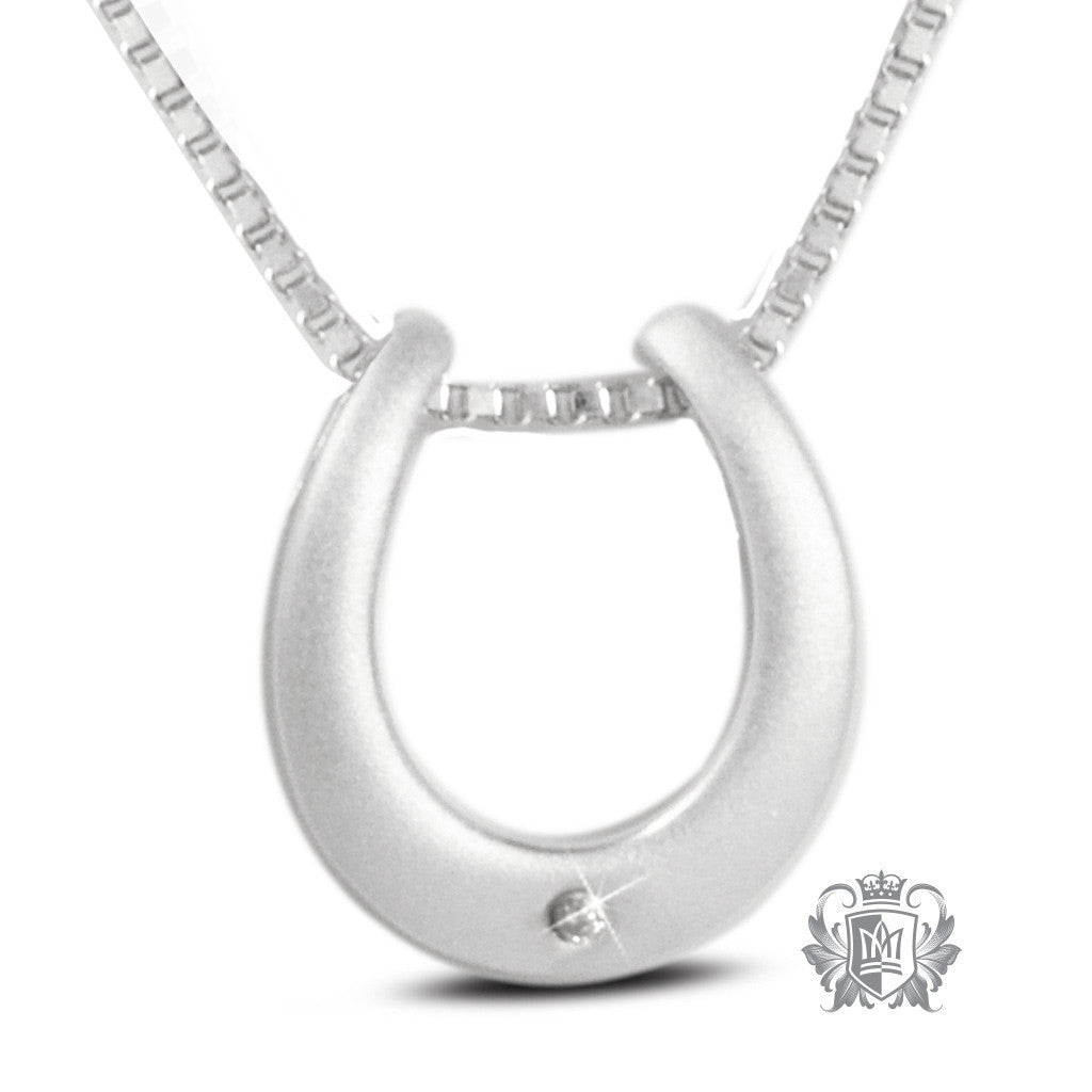 Diamond Horseshoe Pendant - 18 inch chain Gemstone Pendants - 1
