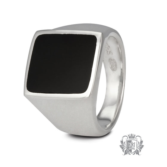 Black Onyx Inlay Large Square Signet Ring - Size 10 Gemstone RIngs - 1