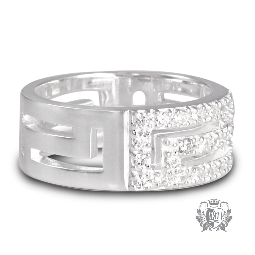 Greek Key Pavé Band - Metalsmiths Sterling™ Canada