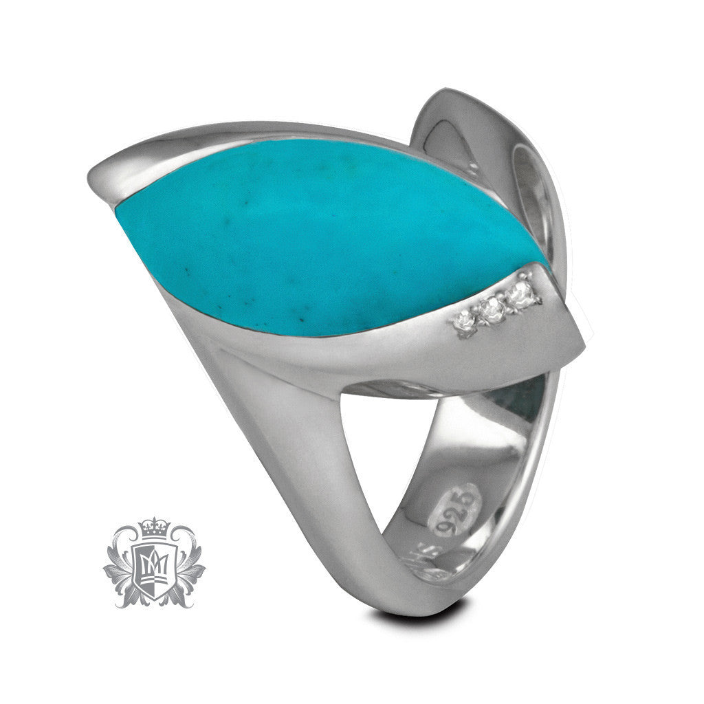 Diamond Gemstone Ring - Black Onyx, Turquoise - Turquoise / Size 6 Gemstone RIngs - 3