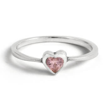 Heart Ring - Pink Cubic / Size 6 Gemstone RIngs - 2
