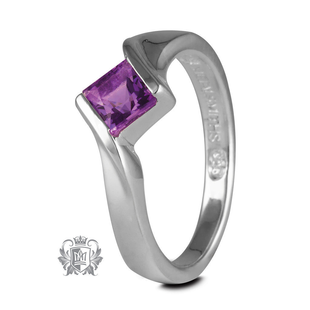 Offset Channel Ring - Amethyst / Size 6 Gemstone RIngs - 1