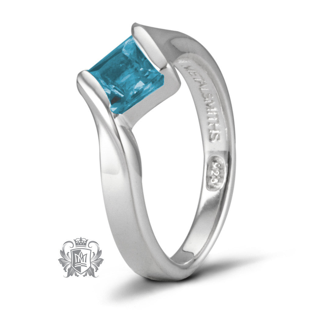 Offset Channel Ring - Blue Topaz / Size 6 Gemstone RIngs - 2