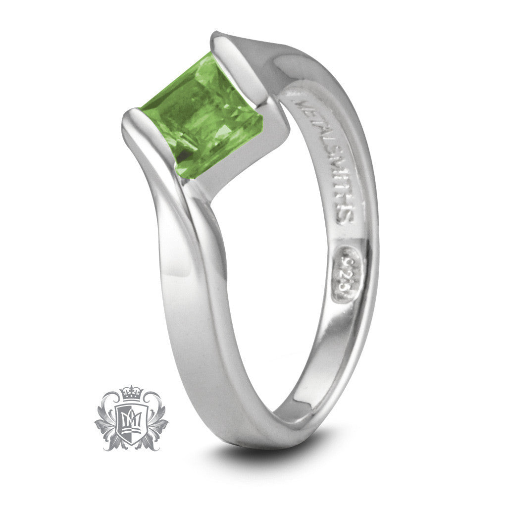Offset Channel Ring - Peridot / Size 6 Gemstone RIngs - 4