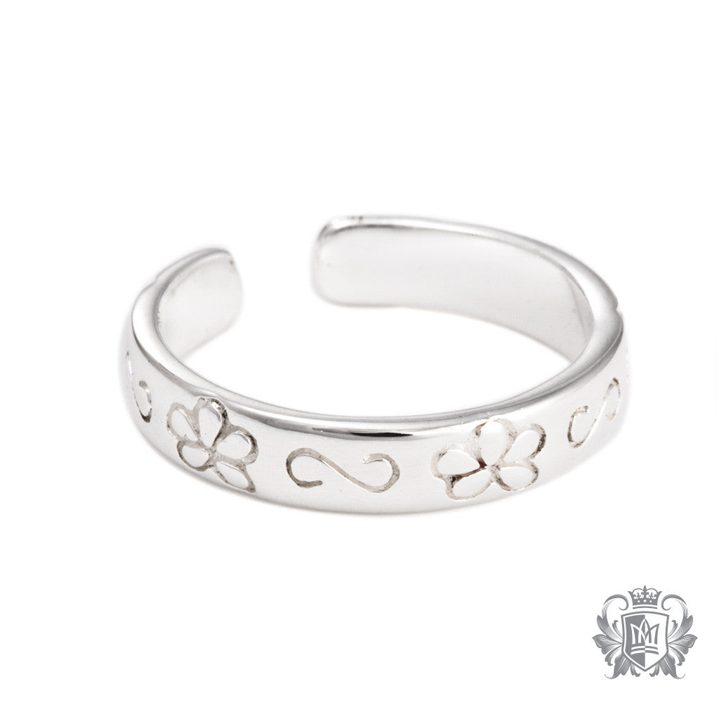Metalsmiths Sterling Silver Flower Groove Toe Ring