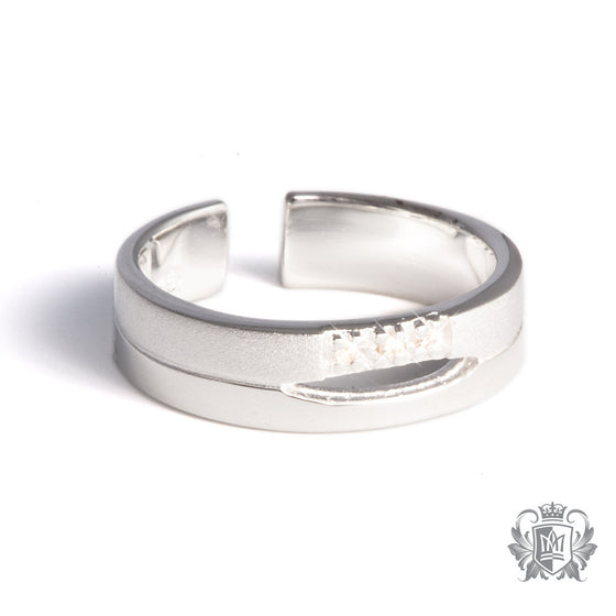 Metalsmiths Sterling Silver Triple Diamond Split Band Toe Ring