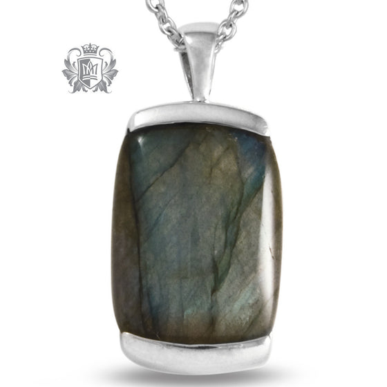 Small Cushion Pendant - Labradorite, Turquoise, Black Onyx - Labradorite / 18 inch chain Gemstone Pendants - 1
