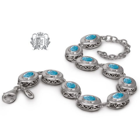 Scroll Blue Topaz Link Bracelet Sterling Silver