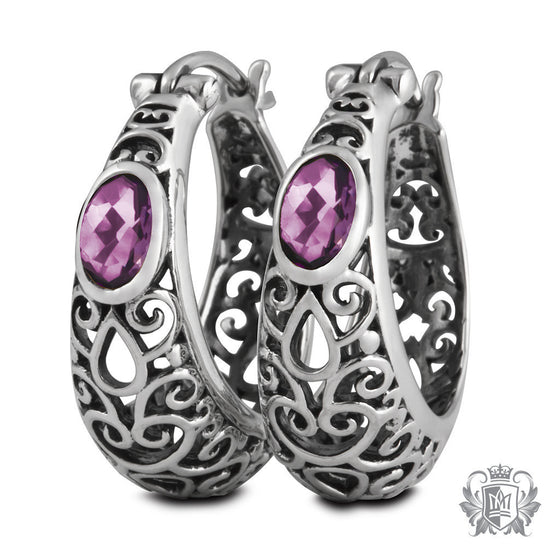 Amethyst Venetian Hoops - Default Gemstone Earrings