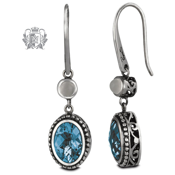 Oval Panos Konidas Earrings - Amethyst & Blue Topaz, Citrine & Garnet, Blue Topaz & Moonstone - Moonstone & Blue Topaz Gemstone Earrings - 2
