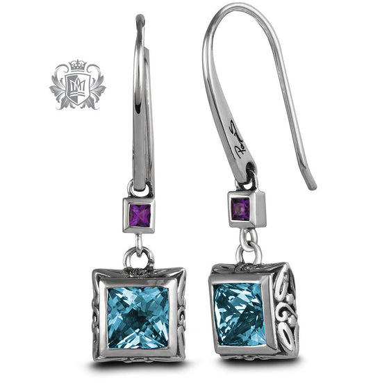 Square Panos Konidas Earrings - Blue Topaz & Amethyst, Citrine & Garnet - Amethyst & Blue Topaz Gemstone Earrings - 1